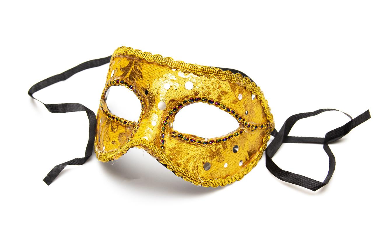 Маска карнавальная, 19*9 см, золото (461745-1)