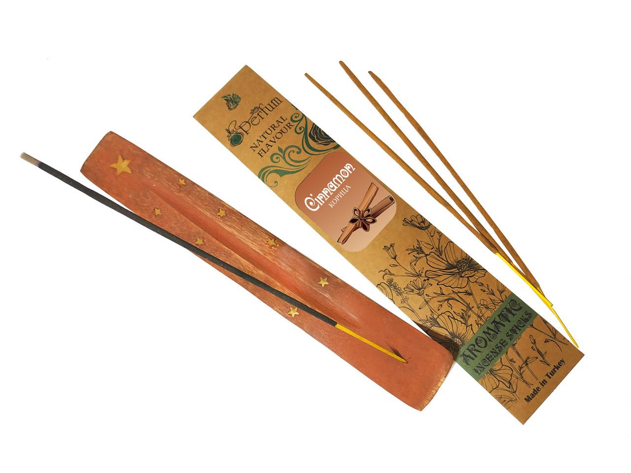 Набор: аромапалочки с ароматом корицы + деревянная подставка под благовония