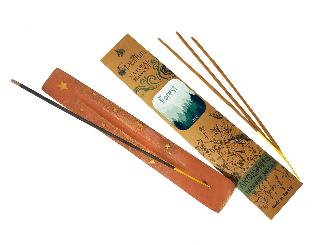 Набір: аромапалички з ароматом лісу + дерев'яна підставка під пахощі