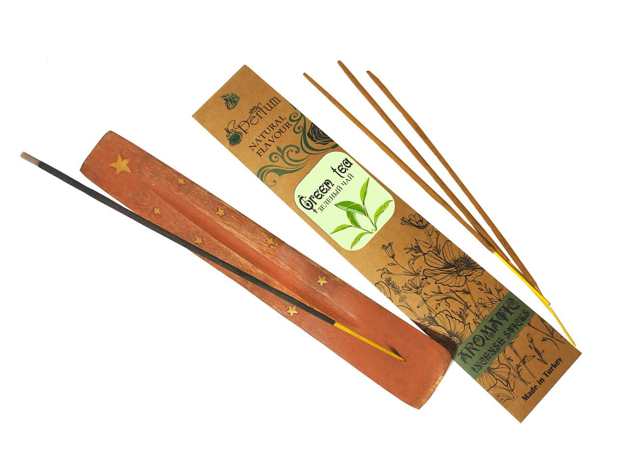 Набор: аромапалочки с ароматом зеленого чая + деревянная подставка под благовония