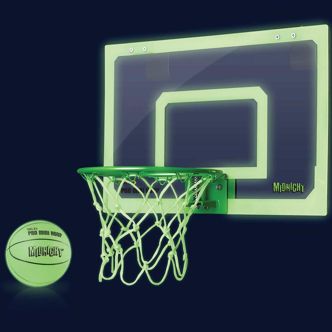 Мини-щит баскетбольный светящийся 45х30 см SKLZ Pro Mini Hoop® Midnight с кольцом, мячем и сеткой