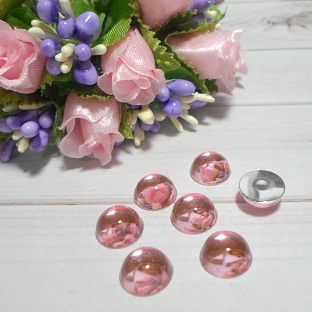 """Полубусины прозрачные, зеркальные """"Капелька"""", цвет розовый, 10 мм , 5 шт."""