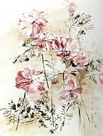 Фотообои флизелиновые 3D цветы 206x275 см Космеи пастельных тонов (13023VEA)