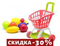Тележка покупателя с продуктами красный