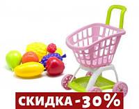 Тележка покупателя с продуктами розовый