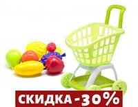Тележка покупателя с продуктами зеленый
