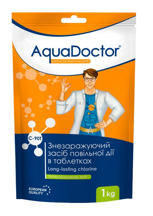 Дезінфектант на основі хлору тривалої дії таб. 200 грам AquaDoctor C-90T (1кг)