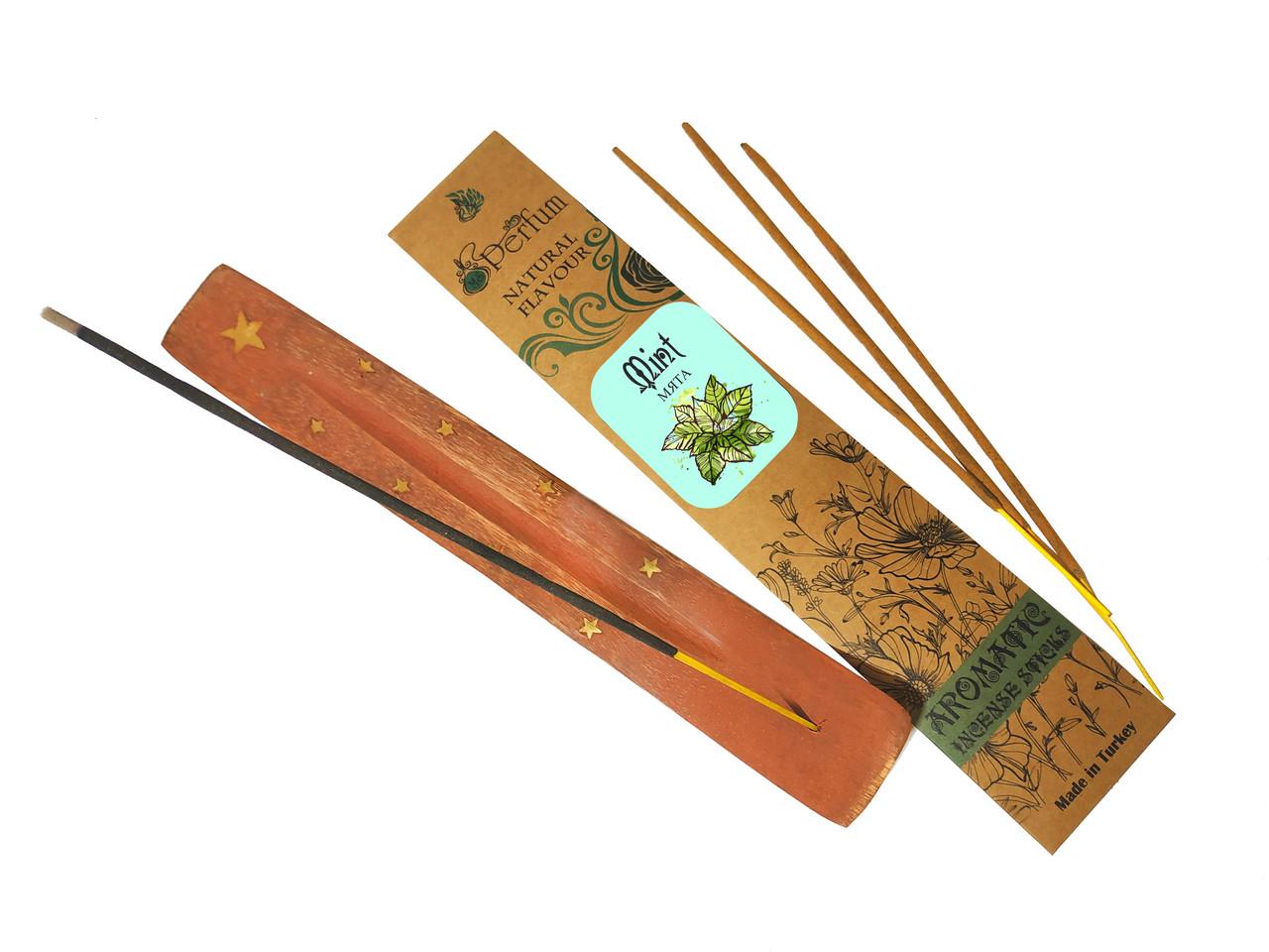 Набор: аромапалочки с ароматом мяты + деревянная подставка под благовония