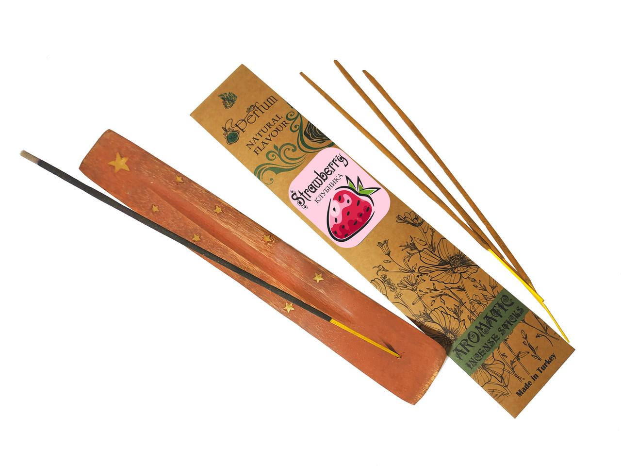 Набор: аромапалочки с ароматом клубники + деревянная подставка под благовония