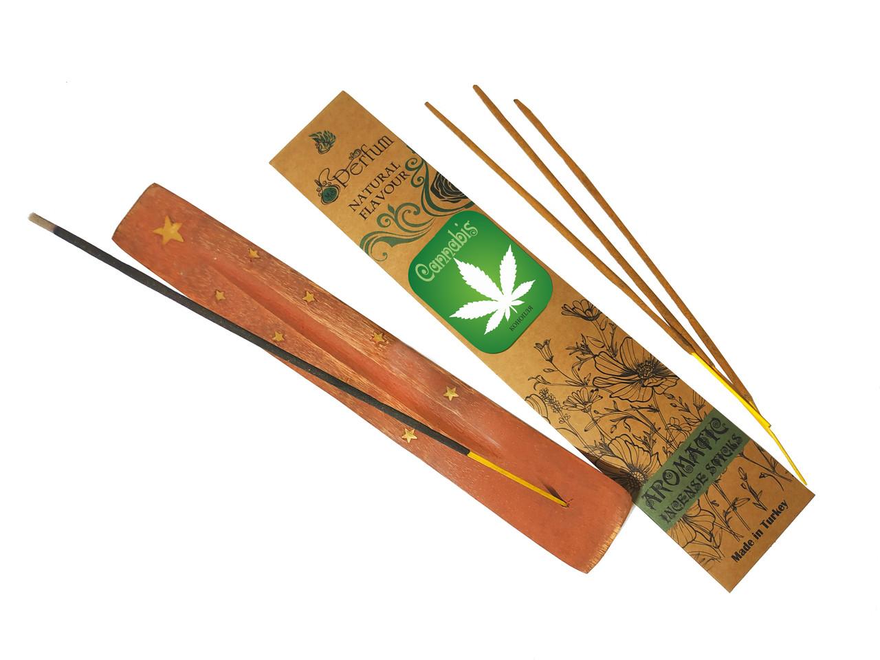 Набор: аромапалочки с ароматом конопли + деревянная подставка под благовония
