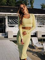 Літній жіночий костюм спідниця міді+топ жовтий S-M M-L летний женский юбка желтый миди+топ 42-44 44-46