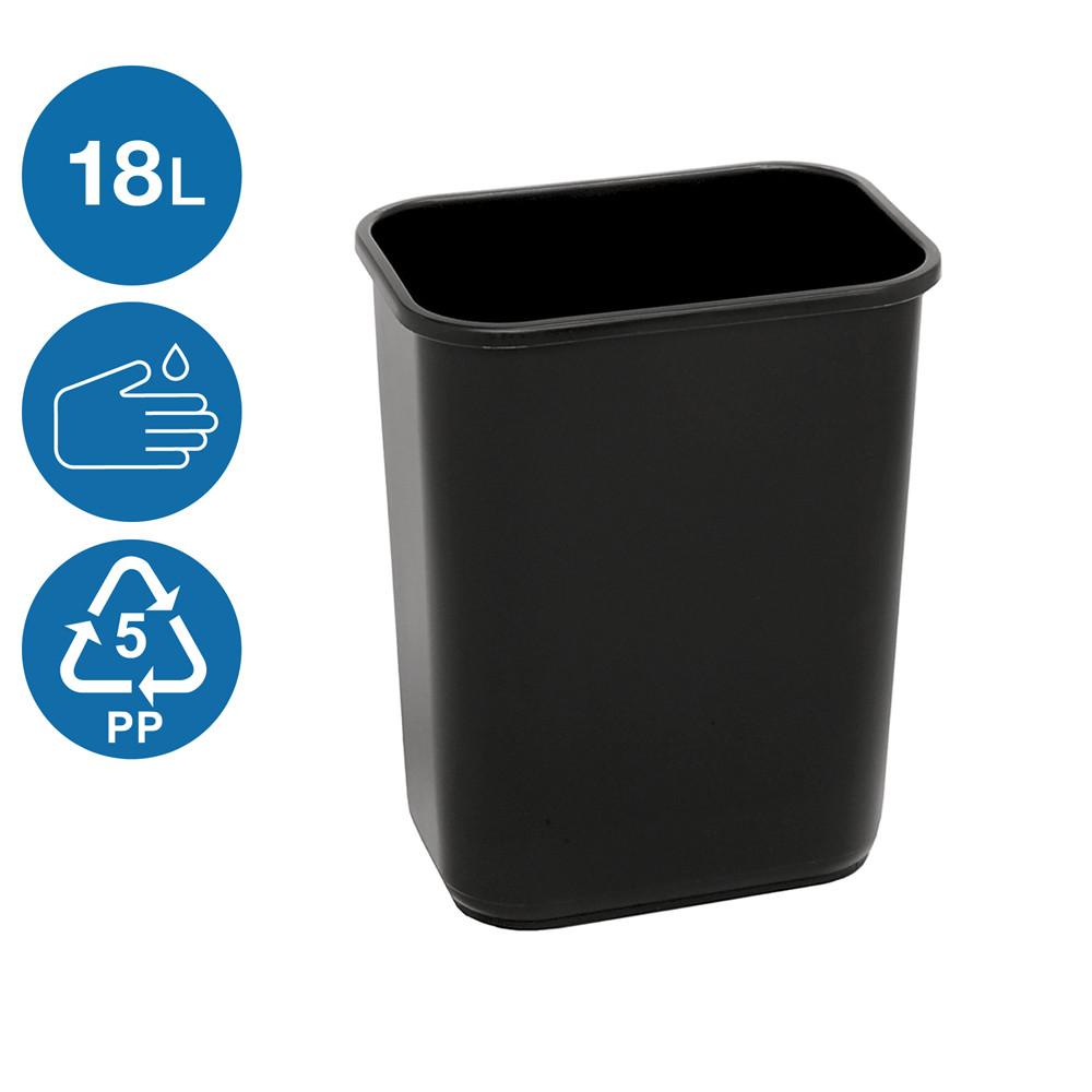 Ведро для мусора без крышки черное 18л, Heidrun REFUSE Push&Up, 29*23*43см (1341/у)