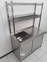Стол тумба с раздвижными дверьми,мойкой и надстройкой для сушки посуды 1160х600х1750, фото 1