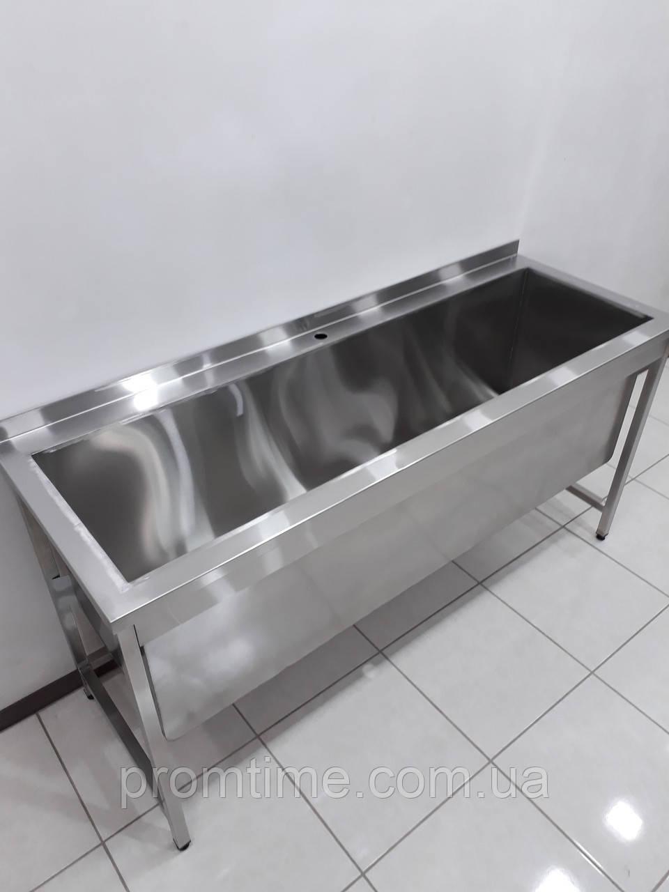 Ванна моечная, мойка односекционная с бортом из нержавеющей стали 1700х600х850
