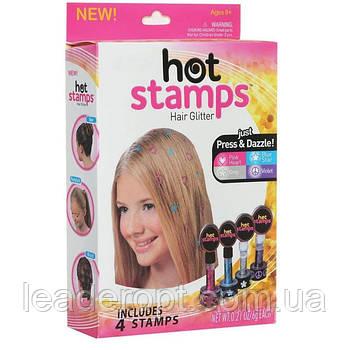 ОПТ Фігурні тату-печатки для волосся Hot Stamps Hair Glitter