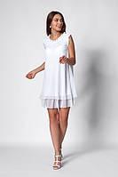 Летнее шифоновое короткое платье белого цвета. Размеры 42,44,46,48
