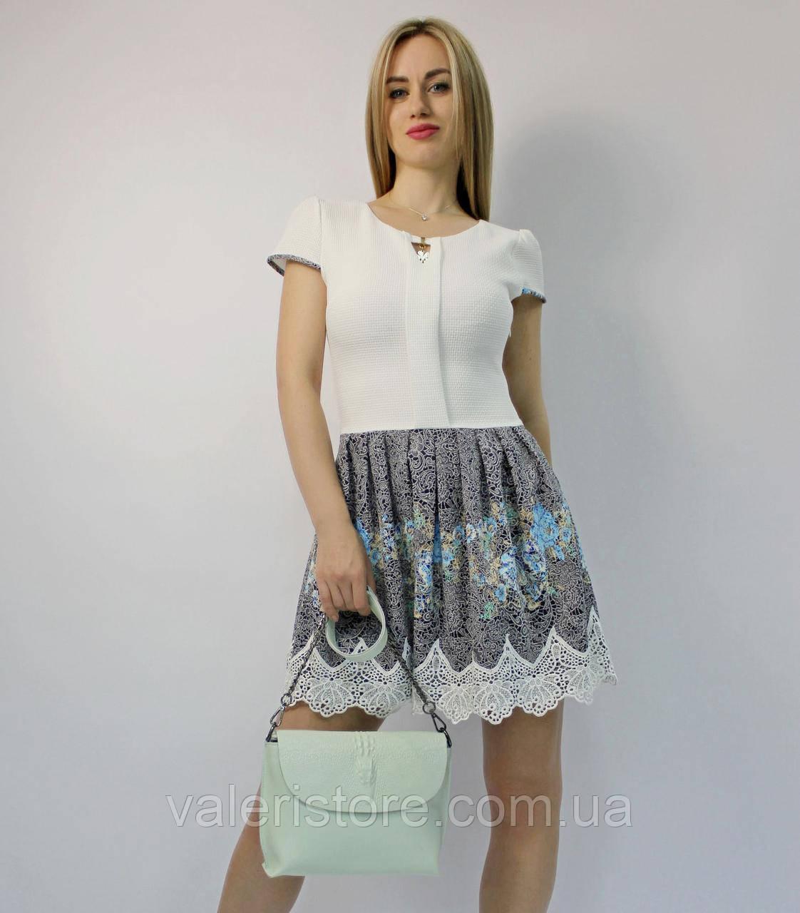 """Мини платье """"беби долл"""" молодежное с белым кружевом коктейльное нарядное вечернее на выпускной на свадьбу"""