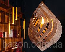 Люстра деревянная лофт Лепесток 33 см | Дизайнерский потолочный светильник