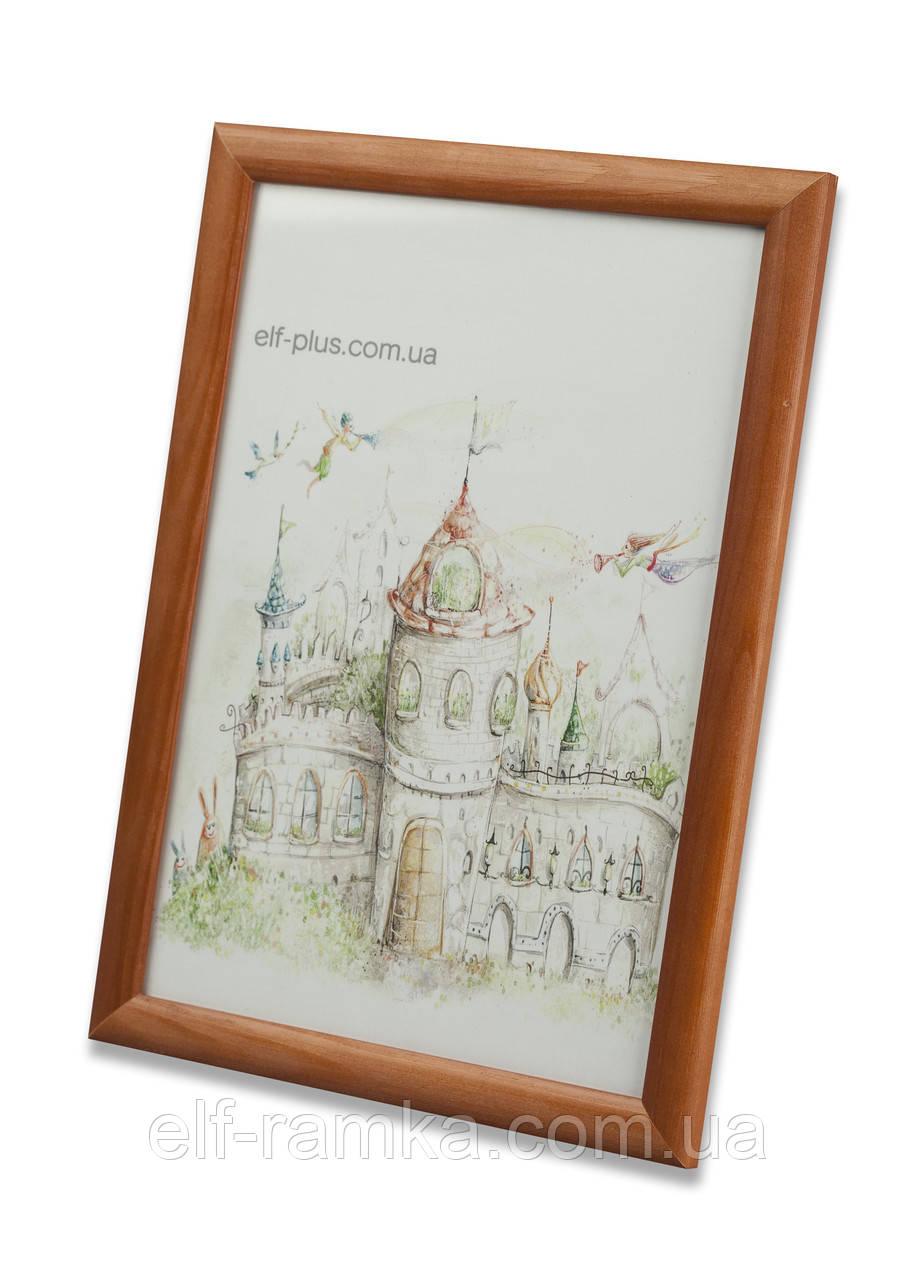 Рамка для фото 15х21 А5 из дерева - Сосна коричневая 2,2 см - со стеклом