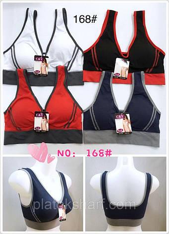 Топ бра, хлопок трикотаж, цветные женские футболки 46-52 (168), фото 1, фото 2