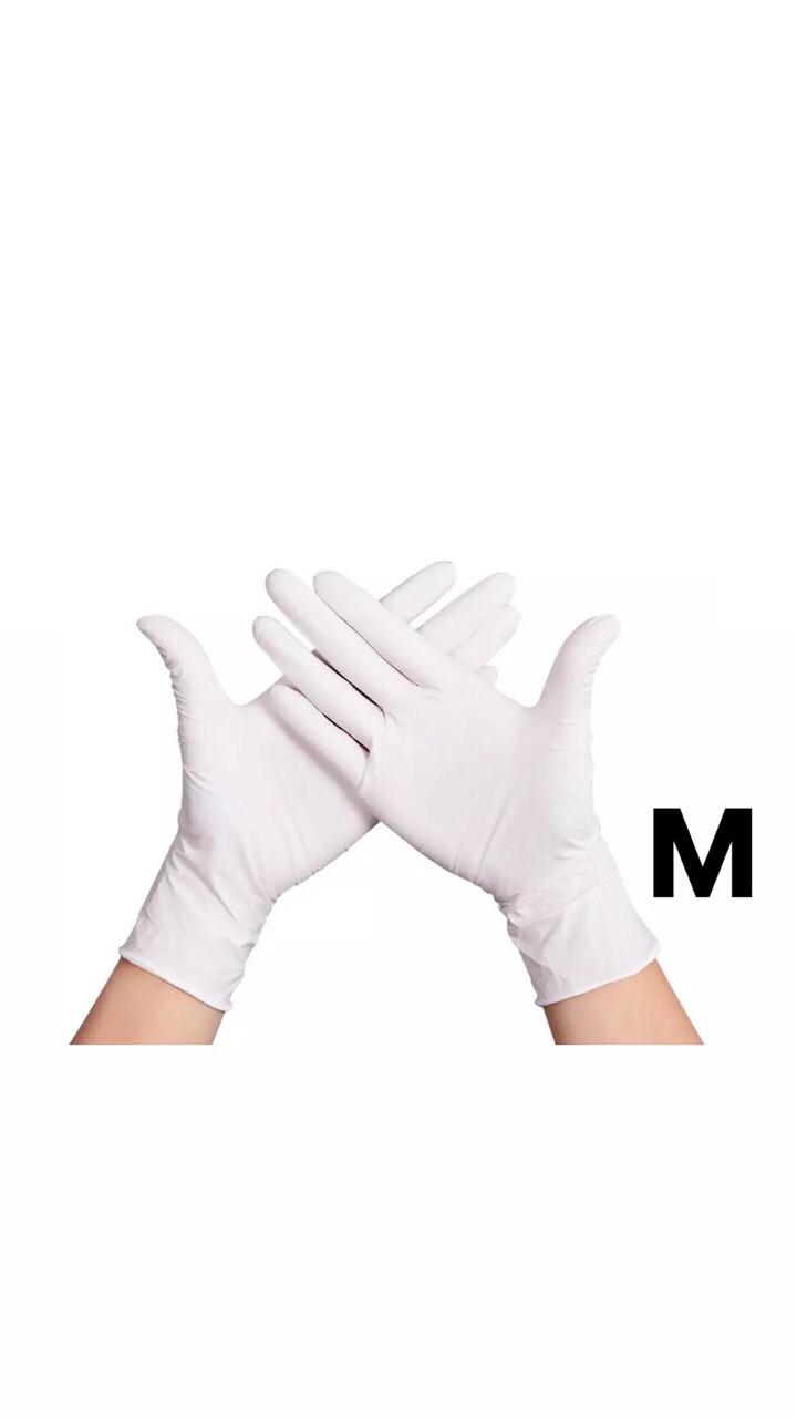 Перчатки нитриловые белые, 50 пар, размер М