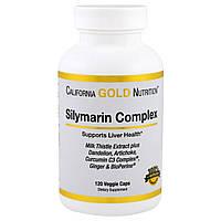 Силимарин, экстракт California Gold Nutrition с одуванчиком и артишоком, 120 капсул. Сделано в США.