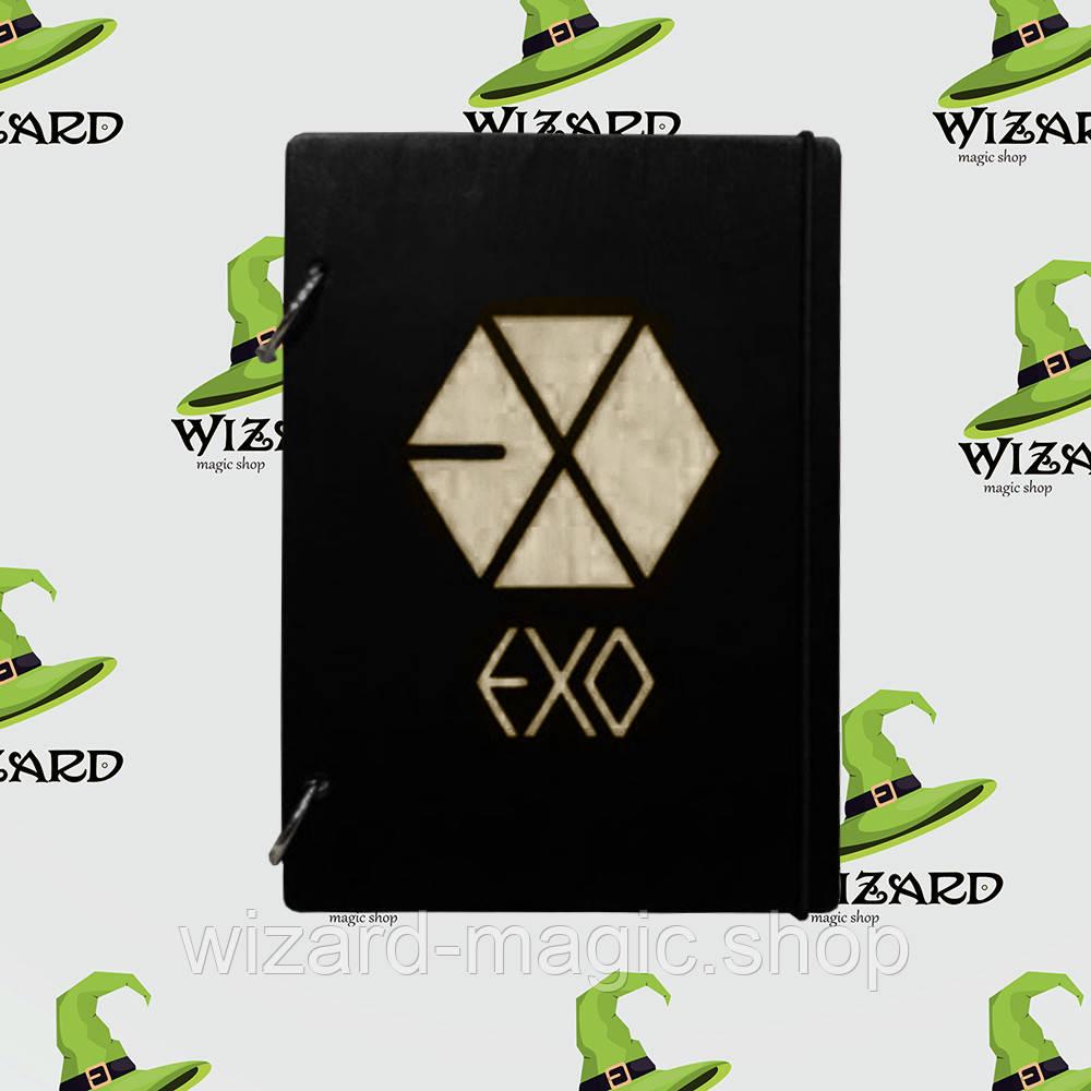 Деревянный блокнот А6 EXO kpop (черное дерево)