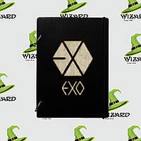 Деревянный блокнот А6 EXO kpop (черное дерево), фото 1