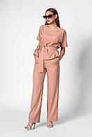 Модный и стильный летний женский костюм широкие брюки и кофта с коротким рукавом из вискозы бежевый