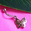 Серебряная серьга для пирсинга пупка - Серебряный пирсинг в пупок Бабочка, фото 3