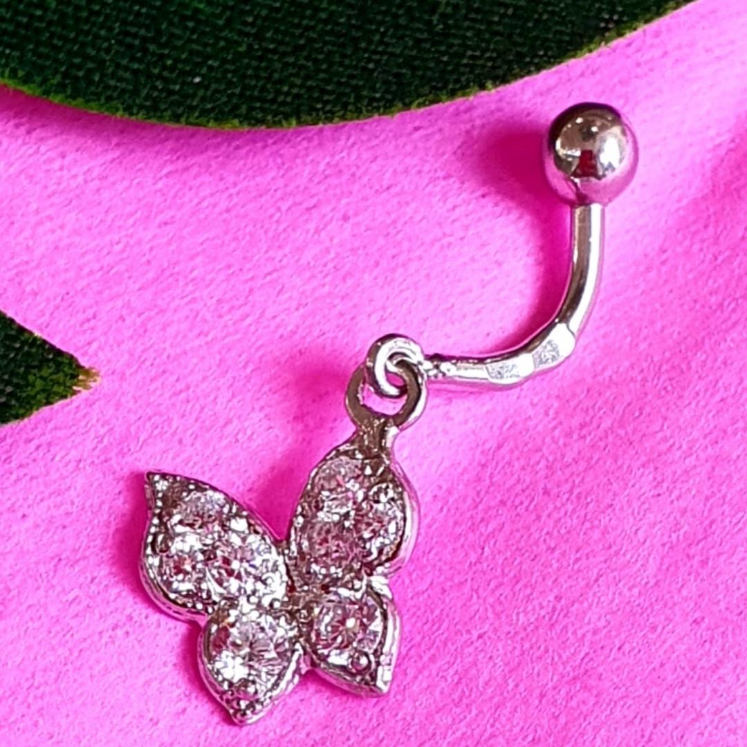 Серебряная серьга для пирсинга пупка - Серебряный пирсинг в пупок Бабочка