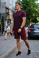 Летний комплект - бордовая футболка и бордовые шорты