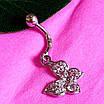 Серебряная серьга для пирсинга пупка - Серебряный пирсинг в пупок Бабочка, фото 4