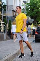 Летний мужской комплект - желтая футболка и серые шорты