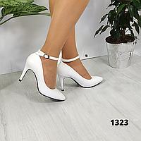 Женские белые туфли с ремешком на удобном каблучке , ОВ  1323, фото 1