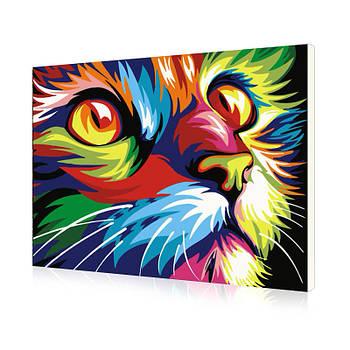 Картина на холсте по номерам Lesko E-493 Радужная Кошка 1 40-50см набор для творчества живопись