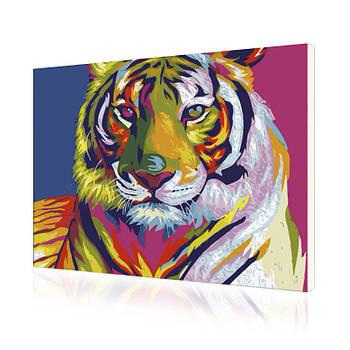 Картина на холсте по номерам Lesko E-506 Радужный Тигр Животные 40-50см набор для творчества живопись