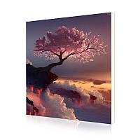 """Картина по номерам Lesko Y-5231 """"Цветущая сакура на обрыве"""" 40-50см набор для творчества живопись"""