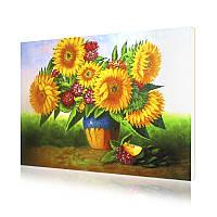 """Картина по номерам Lesko Y-5284 """"Подсолнух с цветами"""" 40-50см набор для творчества живопись"""