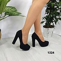 Женские замшевые туфли на каблуке и платформе, ОВ 1324, фото 1