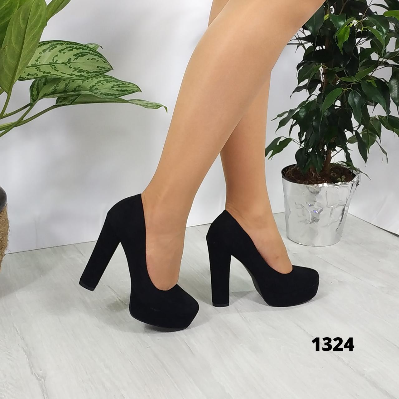 Женские замшевые туфли на каблуке и платформе, ОВ 1324