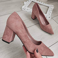 Туфлі жіночі на низькому каблуку пудрові екозамша, фото 1