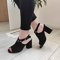 Босоніжки жіночі на каблуку чорні екозамша, фото 1