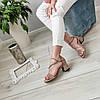 Босоніжки жіночі бежеві на каблуку екозамша