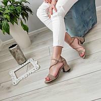 Босоніжки жіночі бежеві на каблуку екозамша, фото 1