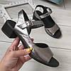Босоніжки жіночі на каблуку натуральні шкіряні нікель