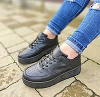 Кросівки жіночі чорні екошкіра, фото 1