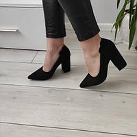 Туфлі чорні жіночі на каблуку екозамша 40р, фото 1