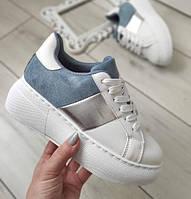 Кросівки жіночі білі на високій підошві, фото 1