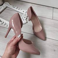 Туфлі лодочки жіночі на каблуку шпильці екошкіра лакована, фото 1